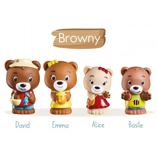 Lot de 4 personnages KLOROFIL de la famille « Browny »